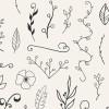 アンティーク調な雰囲気の手描きイラストレーションセット「110 Hand-Drawn Floral Elements」