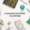 シームレスな手書き風幾何学模様パターンセット18種「Rosalie Watercolor Patterns」