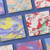 カラフルでインパクト抜群なマーブルテクスチャ素材「18 Ink Marble Paper Textures」