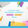 美しいグラデーションが特徴のインフォグラフィック素材 「[Freebie] Gradient Style Infographic Elements: AI, EPS, and JPG」