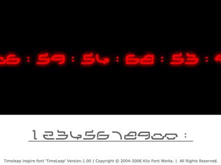 「時をかける少女」の時計のカウントフォント