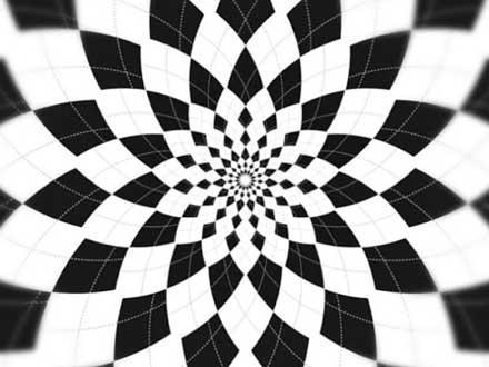 幾何学柄も白黒に。