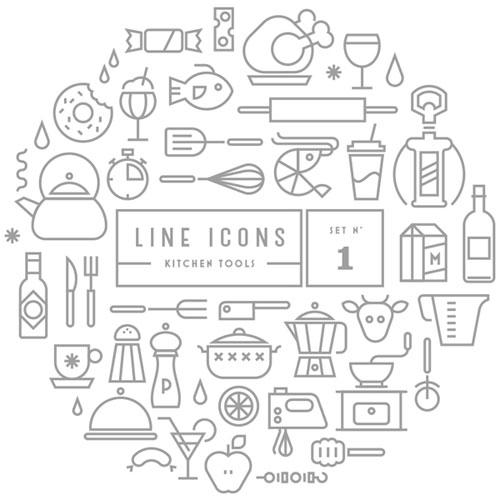 キッチンアイテムをラインアイコン化した「LINE ICONS SET – KITCHEN TOOLS」