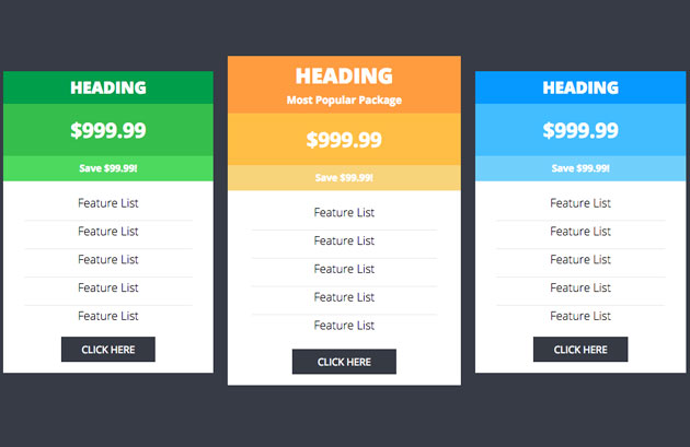 10 free open source responsive for Pricing table design