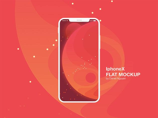 Iphone X \u2013 Flat Mockup (Free download) on Behance フラットなイラスト のモックアップです。どんなデザインにもフィットする点では魅力的ですね。